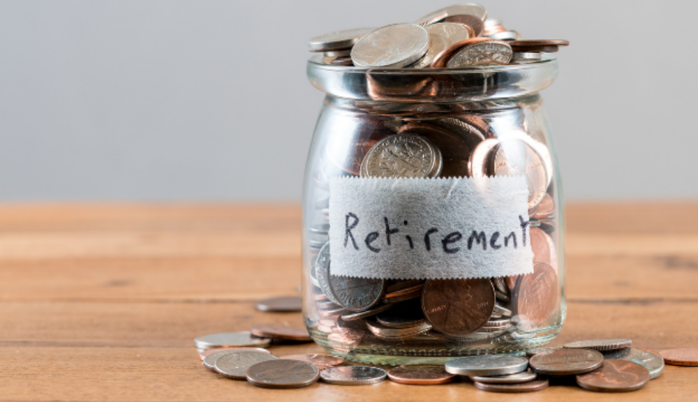 Retirement Annuity on label of clear jar