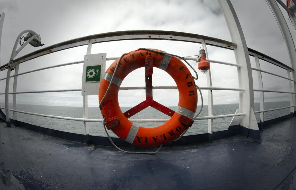 Life belt on ship